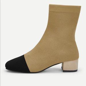 Cap Toe Block Heeled Sock Boots